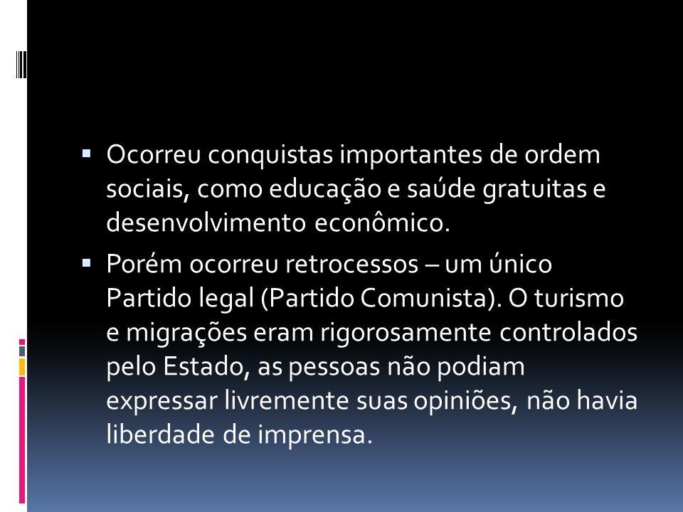 Ocorreu conquistas importantes de ordem sociais, como educação e saúde gratuitas e desenvolvimento econômico. Porém ocorreu retrocessos – um único Par
