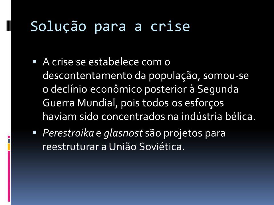 Solução para a crise A crise se estabelece com o descontentamento da população, somou-se o declínio econômico posterior à Segunda Guerra Mundial, pois