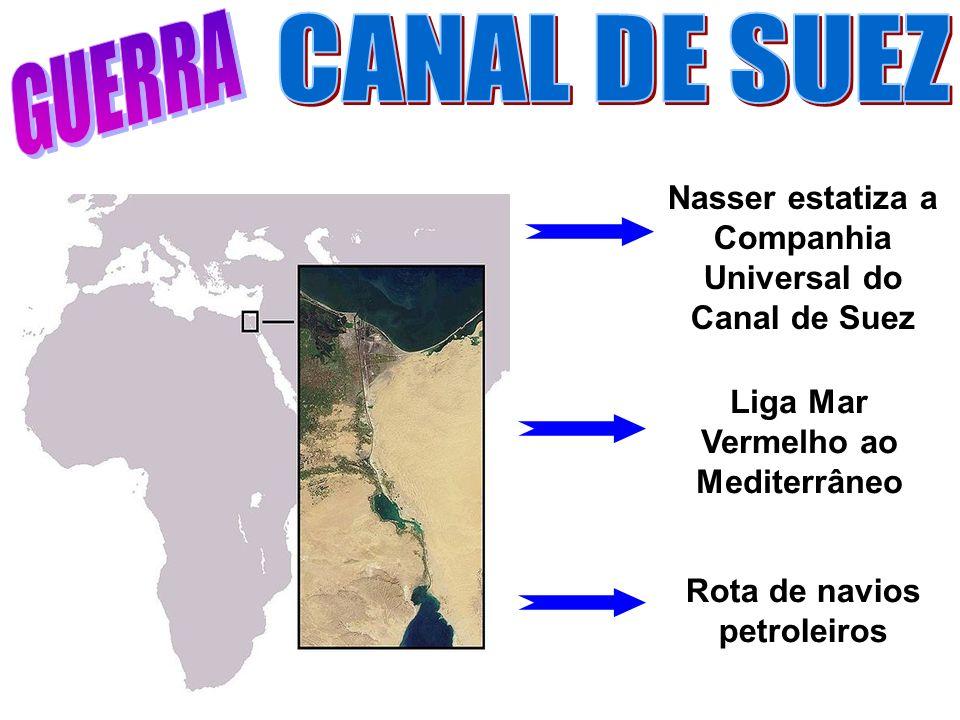 Rota de navios petroleiros Nasser estatiza a Companhia Universal do Canal de Suez Liga Mar Vermelho ao Mediterrâneo