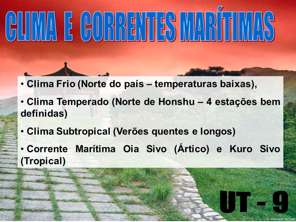 Clima Frio (Norte do país – temperaturas baixas), Clima Temperado (Norte de Honshu – 4 estações bem definidas) Clima Subtropical (Verões quentes e longos) Corrente Marítima Oia Sivo (Ártico) e Kuro Sivo (Tropical)