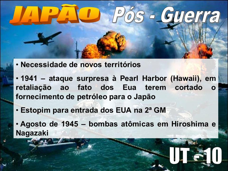 Necessidade de novos territórios 1941 – ataque surpresa à Pearl Harbor (Hawaii), em retaliação ao fato dos Eua terem cortado o fornecimento de petróleo para o Japão Estopim para entrada dos EUA na 2ª GM Agosto de 1945 – bombas atômicas em Hiroshima e Nagazaki
