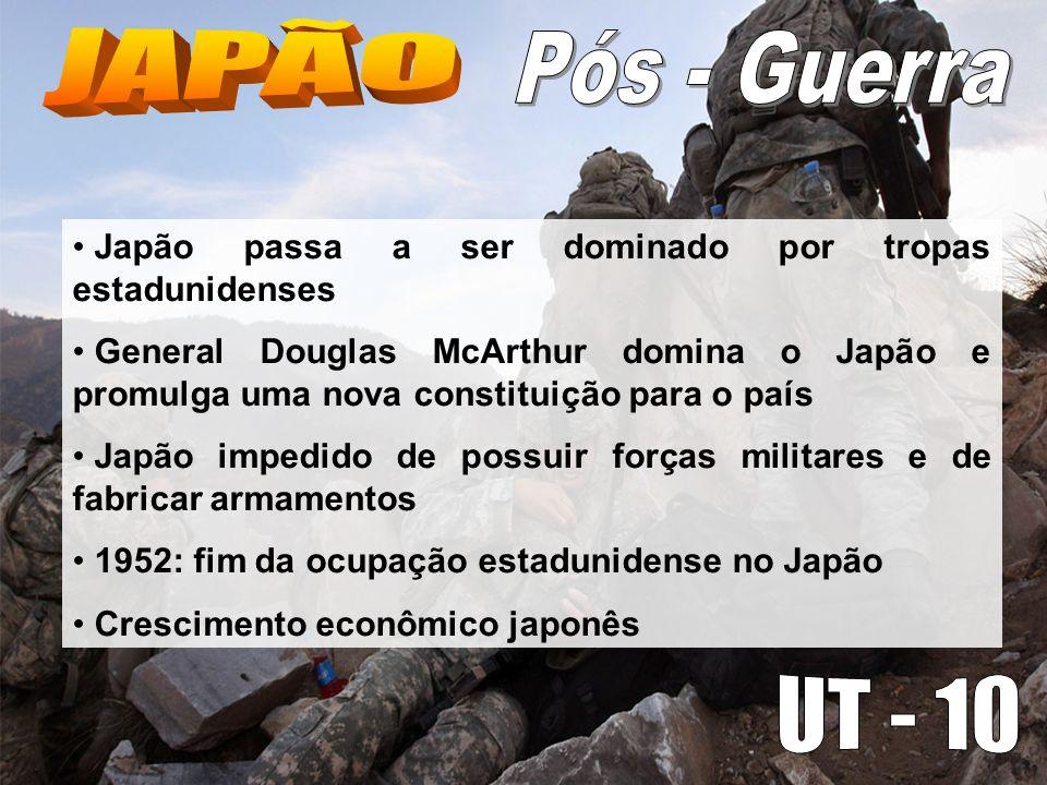 Japão passa a ser dominado por tropas estadunidenses General Douglas McArthur domina o Japão e promulga uma nova constituição para o país Japão impedi