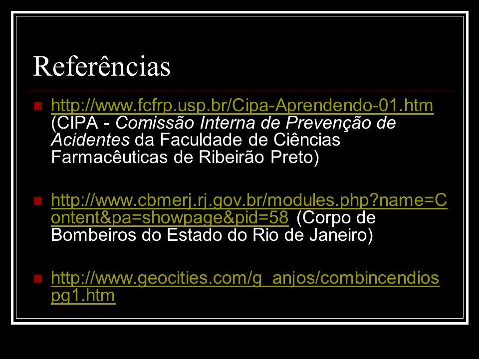 Referências http://www.fcfrp.usp.br/Cipa-Aprendendo-01.htm (CIPA - Comissão Interna de Prevenção de Acidentes da Faculdade de Ciências Farmacêuticas d