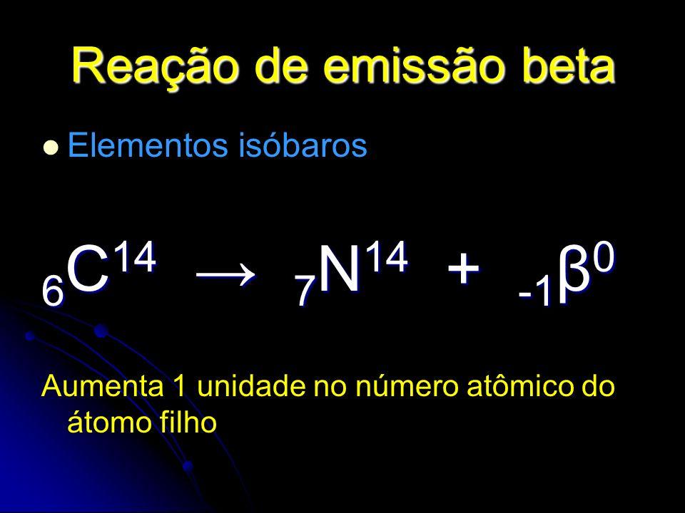 Reação de emissão beta Elementos isóbaros 6 C 14 7 N 14 + -1 β 0 Aumenta 1 unidade no número atômico do átomo filho