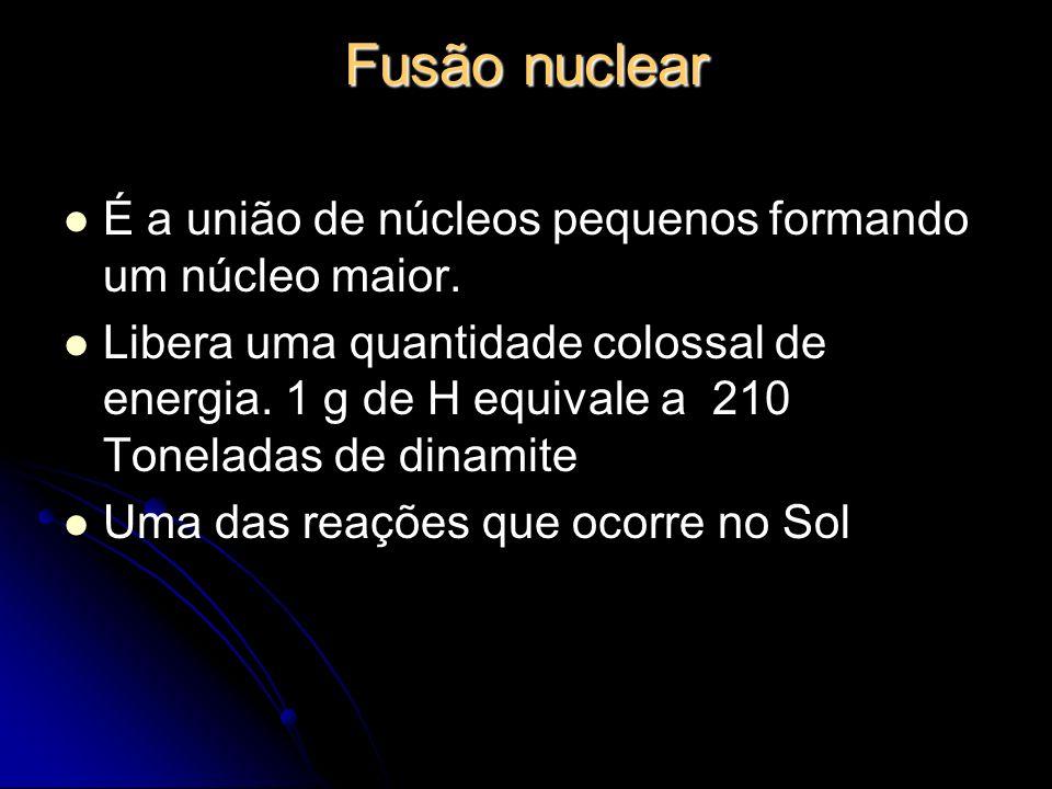 Fusão nuclear É a união de núcleos pequenos formando um núcleo maior. Libera uma quantidade colossal de energia. 1 g de H equivale a 210 Toneladas de
