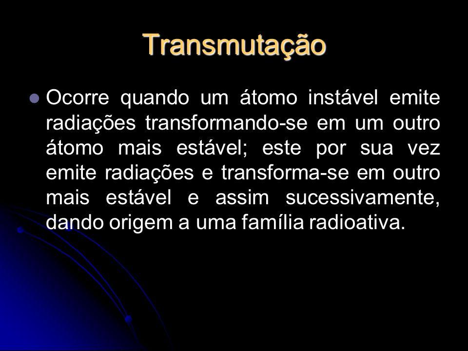 Transmutação Ocorre quando um átomo instável emite radiações transformando-se em um outro átomo mais estável; este por sua vez emite radiações e transforma-se em outro mais estável e assim sucessivamente, dando origem a uma família radioativa.