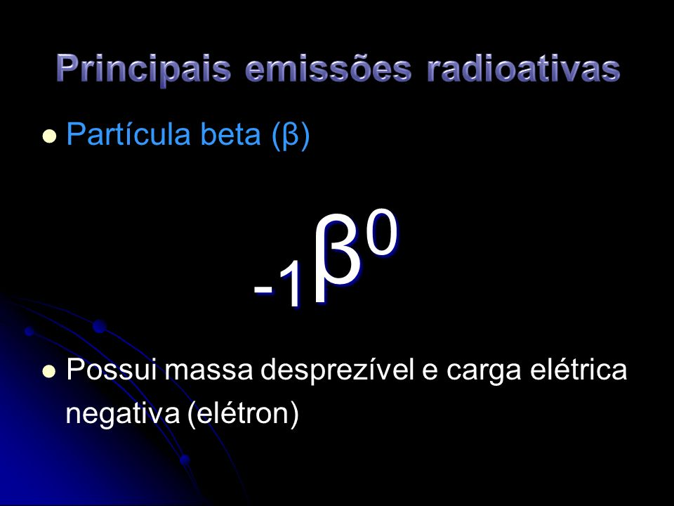 Características das emissões β Massa desprezível.Massa desprezível.