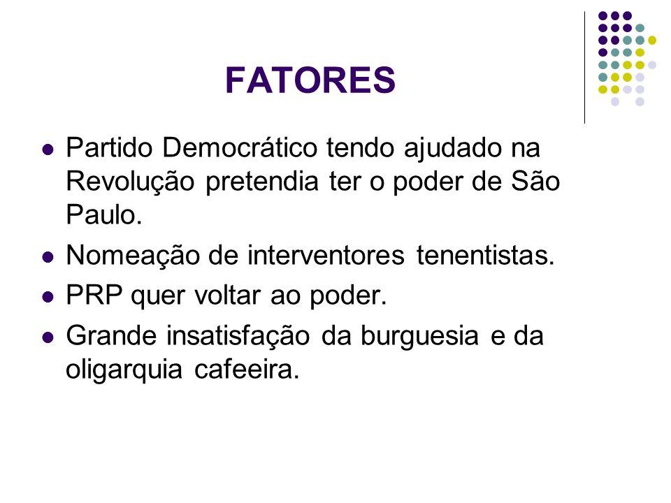 FATORES Partido Democrático tendo ajudado na Revolução pretendia ter o poder de São Paulo. Nomeação de interventores tenentistas. PRP quer voltar ao p