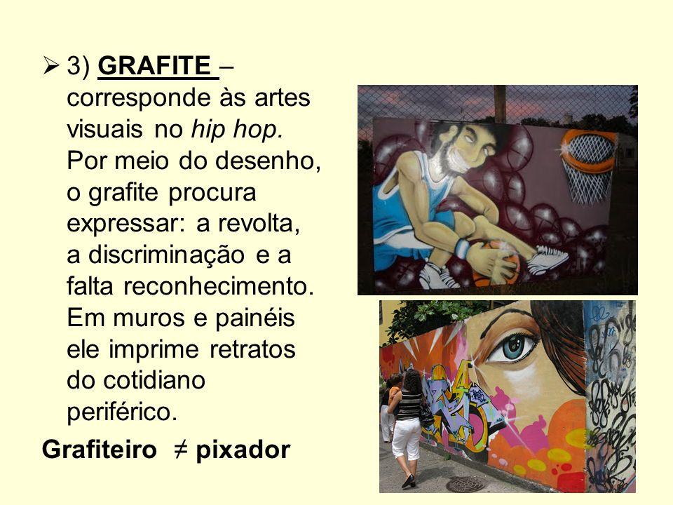 3) GRAFITE – corresponde às artes visuais no hip hop.