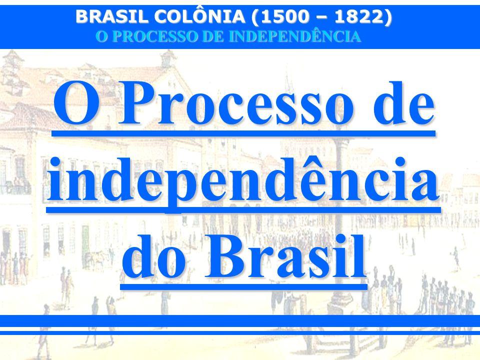 BRASIL COLÔNIA (1500 – 1822) O PROCESSO DE INDEPENDÊNCIA 1.O PERÍODO JOANINO (1808 – 1821) Período em que a família real portuguesa instalou-se no Brasil.Período em que a família real portuguesa instalou-se no Brasil.