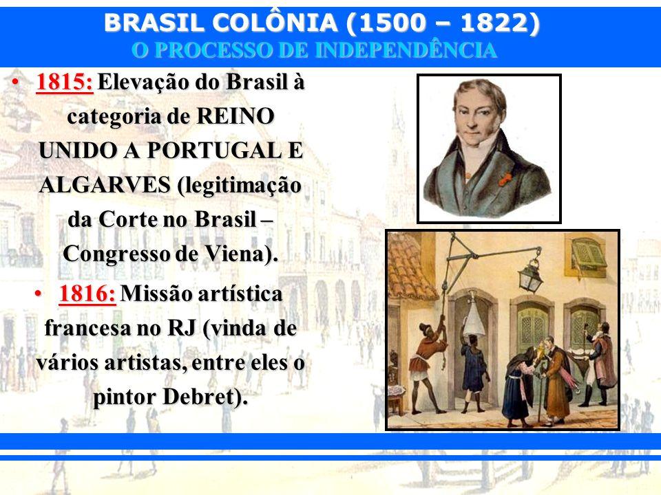 BRASIL COLÔNIA (1500 – 1822) O PROCESSO DE INDEPENDÊNCIA 1815: Elevação do Brasil à categoria de REINO UNIDO A PORTUGAL E ALGARVES (legitimação da Cor