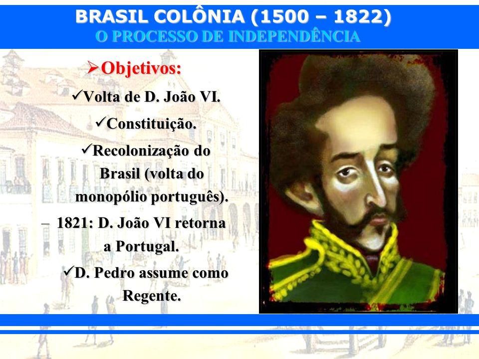 BRASIL COLÔNIA (1500 – 1822) O PROCESSO DE INDEPENDÊNCIA Objetivos: Objetivos: Volta de D. João VI. Volta de D. João VI. Constituição. Constituição. R