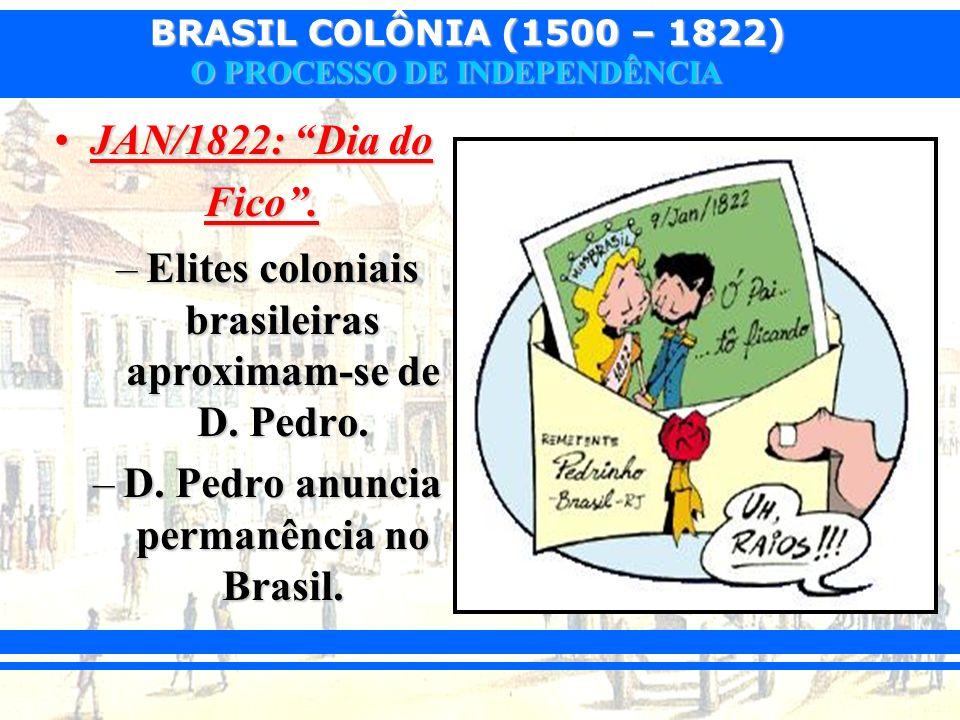 BRASIL COLÔNIA (1500 – 1822) O PROCESSO DE INDEPENDÊNCIA JAN/1822: Dia do Fico.JAN/1822: Dia do Fico. –Elites coloniais brasileiras aproximam-se de D.