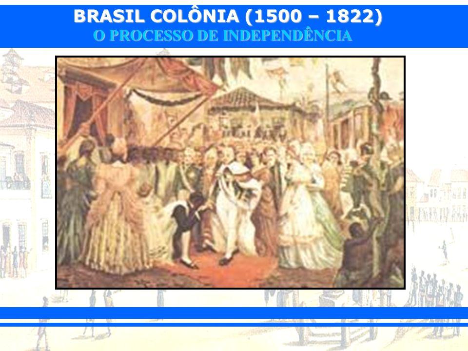 BRASIL COLÔNIA (1500 – 1822) O PROCESSO DE INDEPENDÊNCIA 1810: Tratados de comércio com a Inglaterra1810: Tratados de comércio com a Inglaterra –Tratado de Aliança e Amizade – proibição da Inquisição no Brasil e fim gradual do tráfico negreiro.