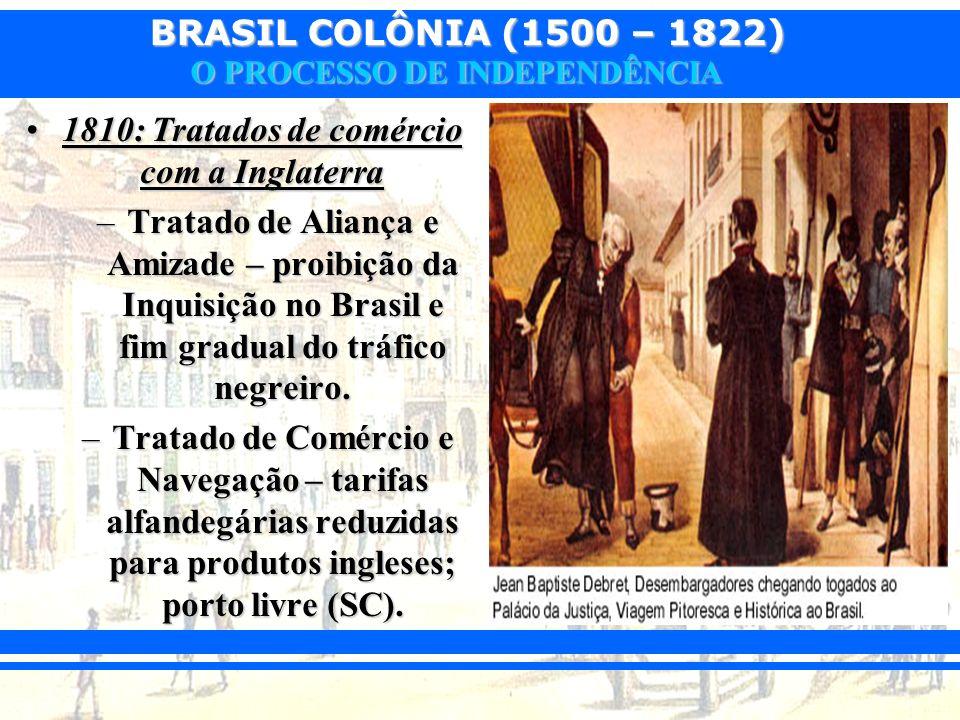 BRASIL COLÔNIA (1500 – 1822) O PROCESSO DE INDEPENDÊNCIA 1810: Tratados de comércio com a Inglaterra1810: Tratados de comércio com a Inglaterra –Trata