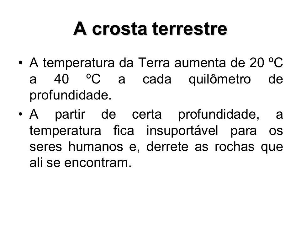 A crosta terrestre A temperatura da Terra aumenta de 20 ºC a 40 ºC a cada quilômetro de profundidade. A partir de certa profundidade, a temperatura fi