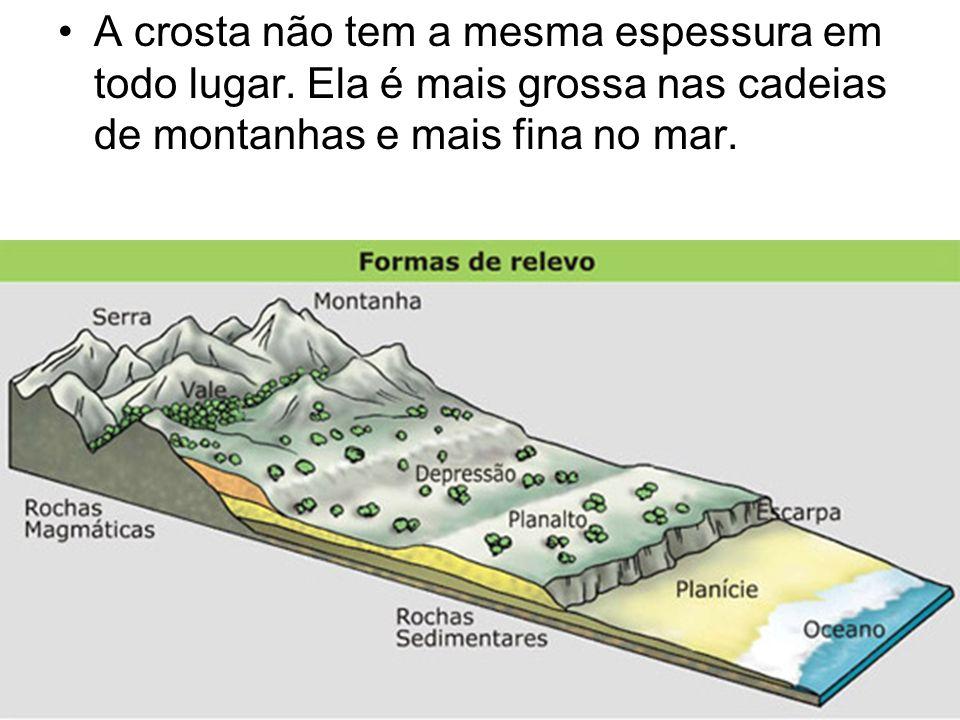 A crosta não tem a mesma espessura em todo lugar. Ela é mais grossa nas cadeias de montanhas e mais fina no mar.