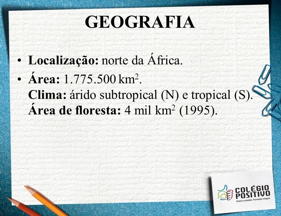 GEOGRAFIA Localização: norte da África. Área: 1.775.500 km 2. Clima: árido subtropical (N) e tropical (S). Área de floresta: 4 mil km 2 (1995).