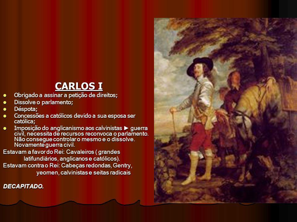 CARLOS I Obrigado a assinar a petição de direitos; Obrigado a assinar a petição de direitos; Dissolve o parlamento; Dissolve o parlamento; Déspota; Dé