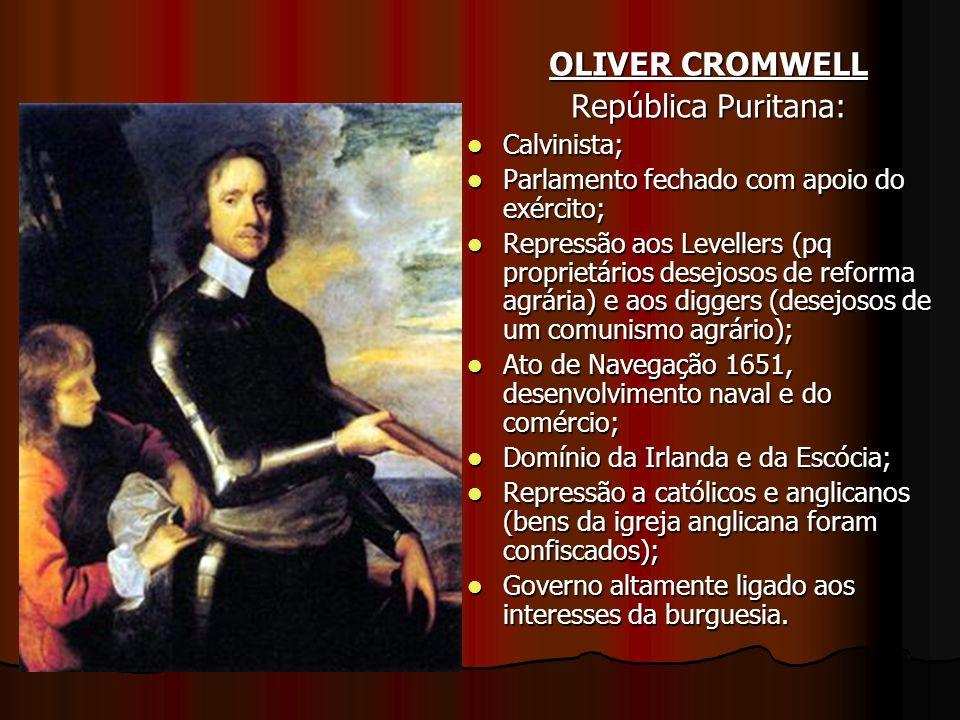 OLIVER CROMWELL República Puritana: Calvinista; Calvinista; Parlamento fechado com apoio do exército; Parlamento fechado com apoio do exército; Repres