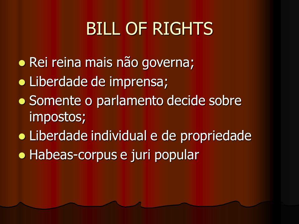 BILL OF RIGHTS Rei reina mais não governa; Rei reina mais não governa; Liberdade de imprensa; Liberdade de imprensa; Somente o parlamento decide sobre