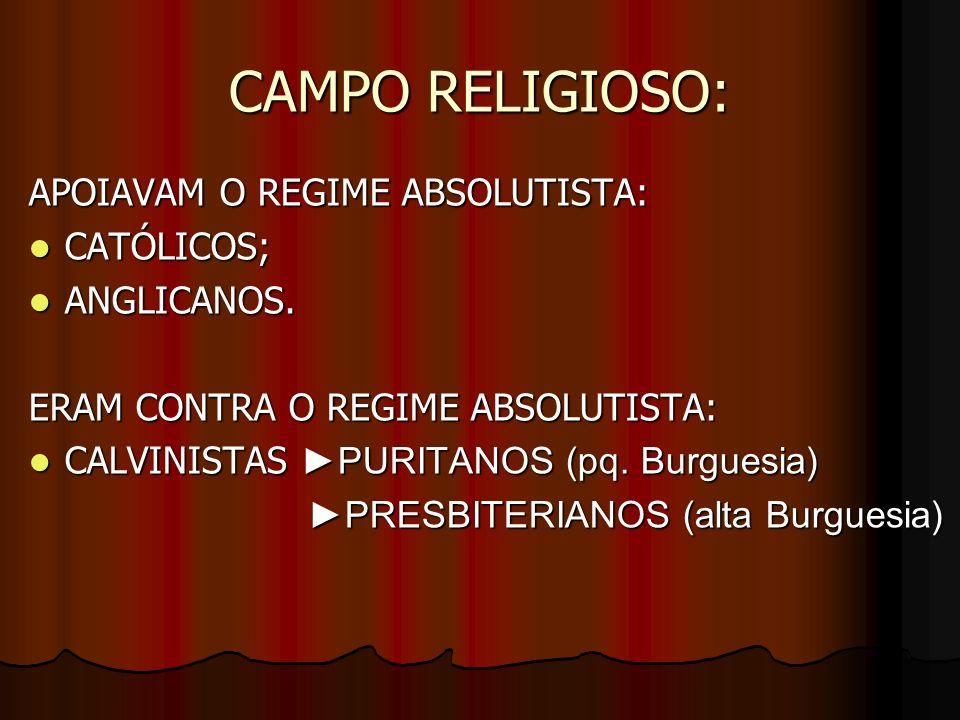 CAMPO RELIGIOSO: APOIAVAM O REGIME ABSOLUTISTA: CATÓLICOS; CATÓLICOS; ANGLICANOS. ANGLICANOS. ERAM CONTRA O REGIME ABSOLUTISTA: CALVINISTAS PURITANOS