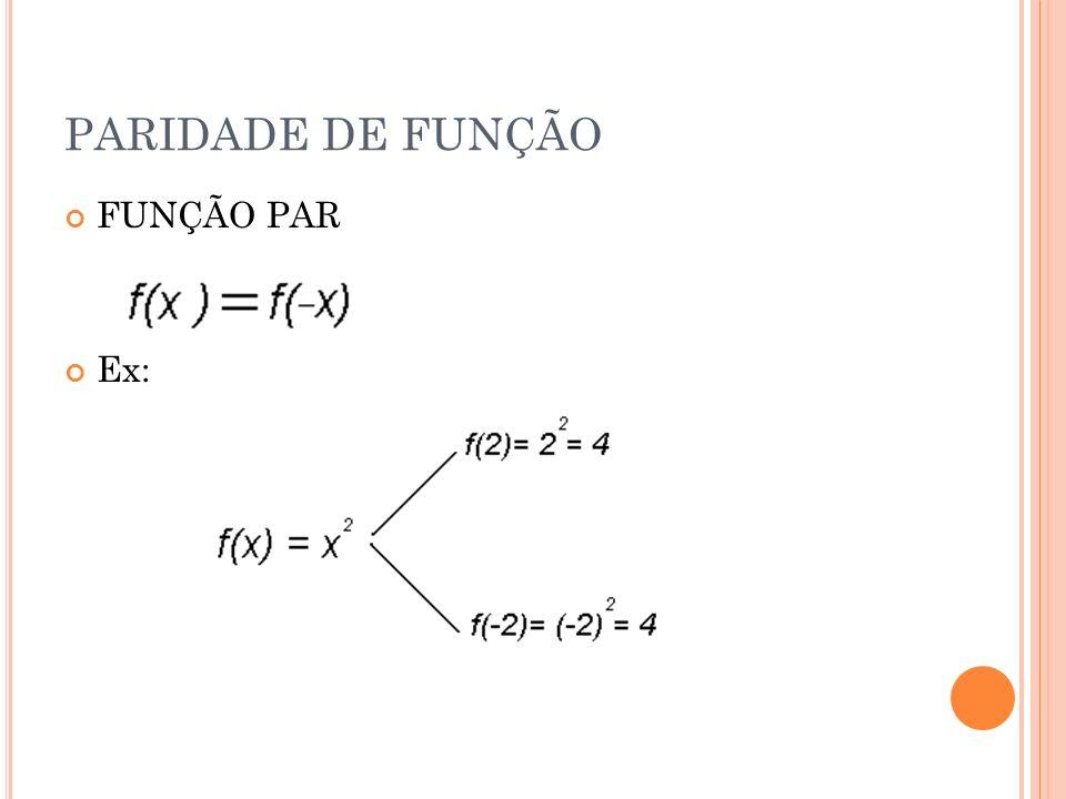 PARIDADE DE FUNÇÃO FUNÇÃO PAR Ex: