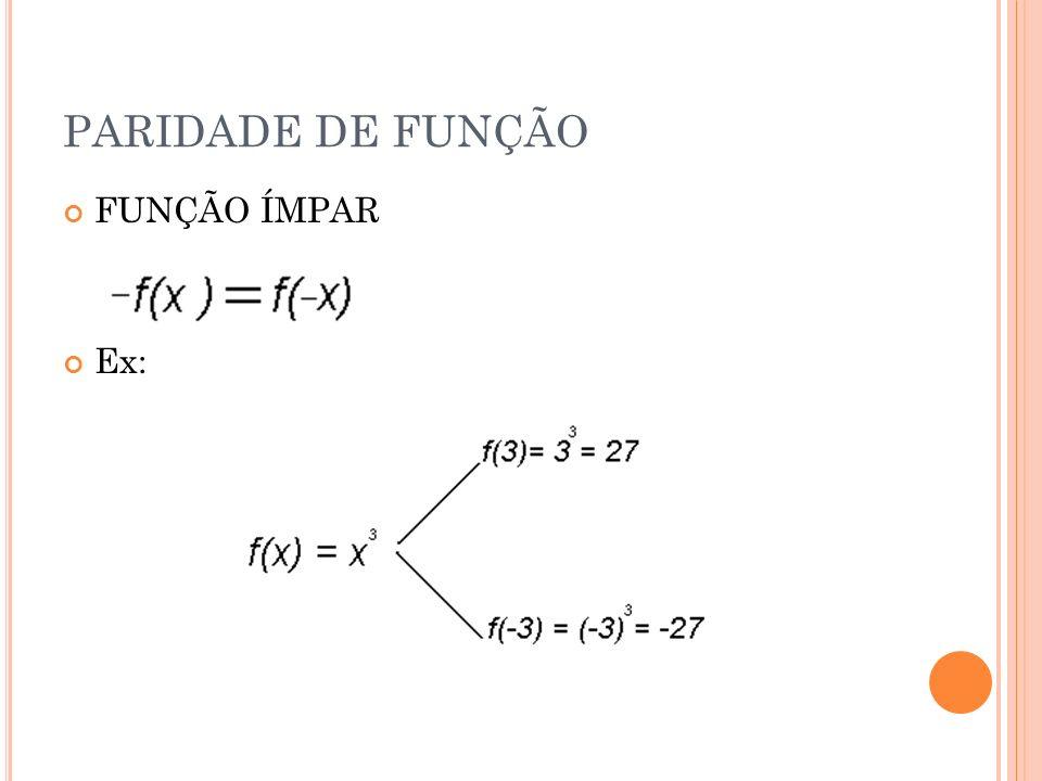 PARIDADE DE FUNÇÃO FUNÇÃO ÍMPAR Ex: