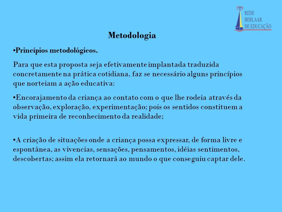 Metodologia Princípios metodológicos. Para que esta proposta seja efetivamente implantada traduzida concretamente na prática cotidiana, faz se necessá