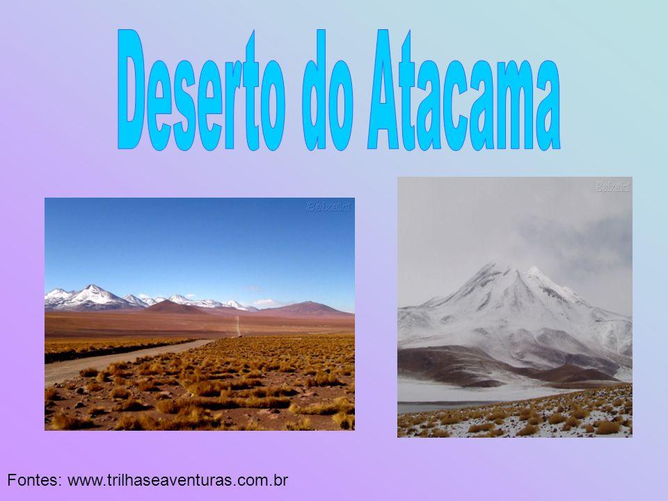 O deserto do Atacama situa-se no norte do Chile, entre os rios Loa e Copiapó.