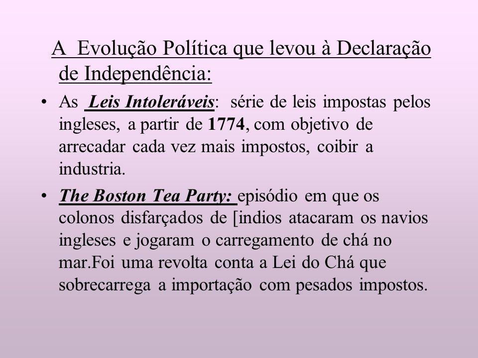 A Evolução Política que levou à Declaração de Independência: As Leis Intoleráveis: série de leis impostas pelos ingleses, a partir de 1774, com objeti