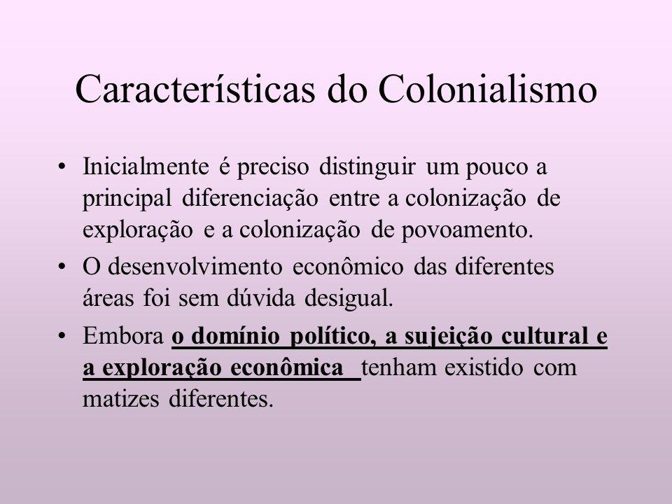 Características do Colonialismo Inicialmente é preciso distinguir um pouco a principal diferenciação entre a colonização de exploração e a colonização