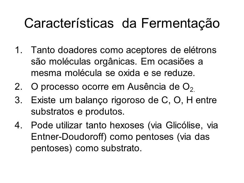 Características da Fermentação 1.Tanto doadores como aceptores de elétrons são moléculas orgânicas.