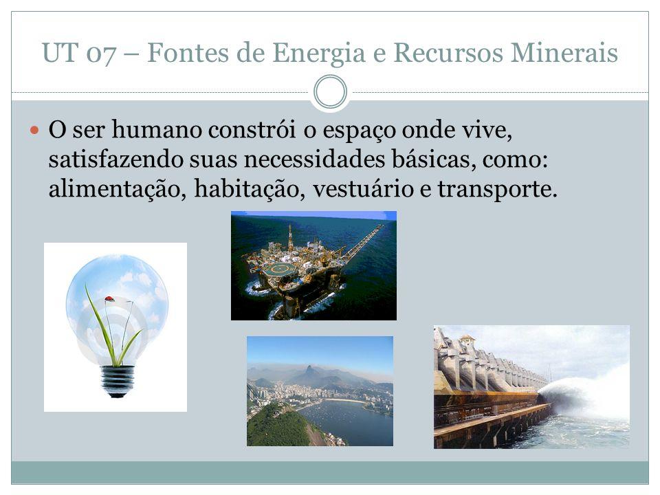 UT 07 – Fontes de Energia e Recursos Minerais ENERGIA O ser humano, nos primórdios da história, utilizavam seus próprios músculos.