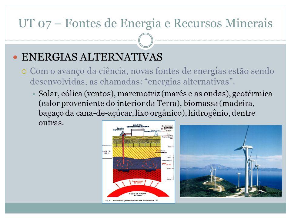 UT 07 – Fontes de Energia e Recursos Minerais CLASSIFICAÇÃO DAS FONTES DE ENERGIA: RENOVÁVEIS.