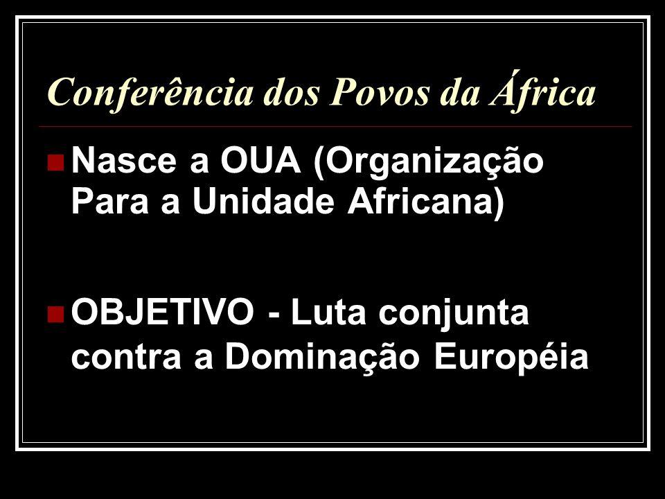 Conferência dos Povos da África Nasce a OUA (Organização Para a Unidade Africana) OBJETIVO - Luta conjunta contra a Dominação Européia