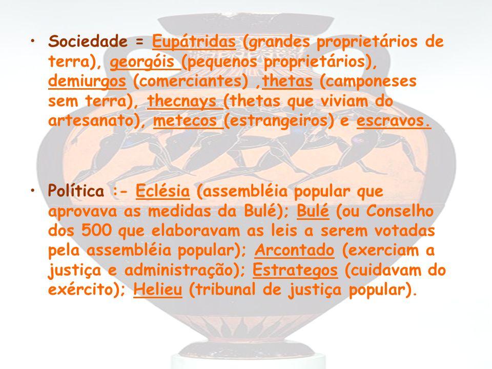 Sociedade = Eupátridas (grandes proprietários de terra), georgóis (pequenos proprietários), demiurgos (comerciantes),thetas (camponeses sem terra), th