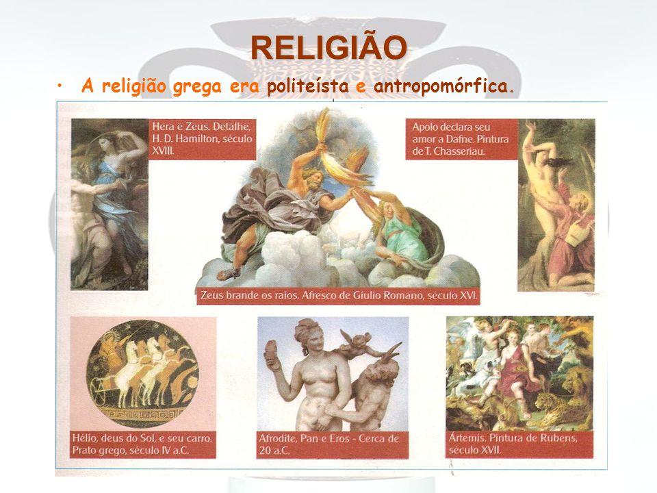 RELIGIÃO A religião grega era politeísta e antropomórfica.