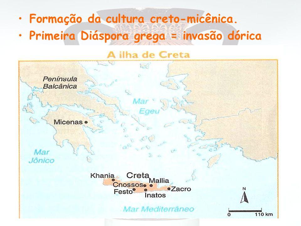 Formação da cultura creto-micênica. Primeira Diáspora grega = invasão dórica