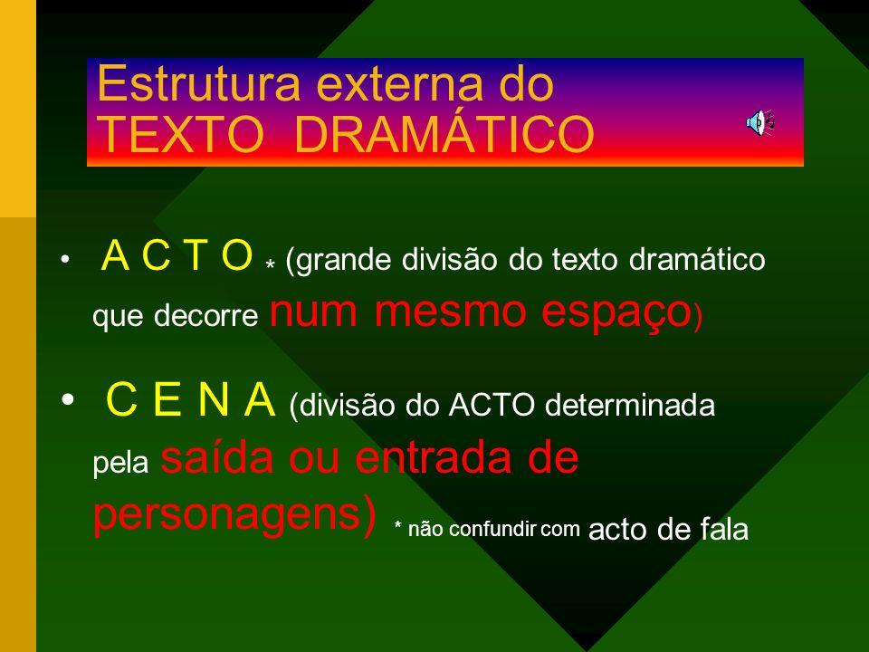 Estrutura externa do TEXTO DRAMÁTICO A C T O * (grande divisão do texto dramático que decorre num mesmo espaço ) C E N A (divisão do ACTO determinada