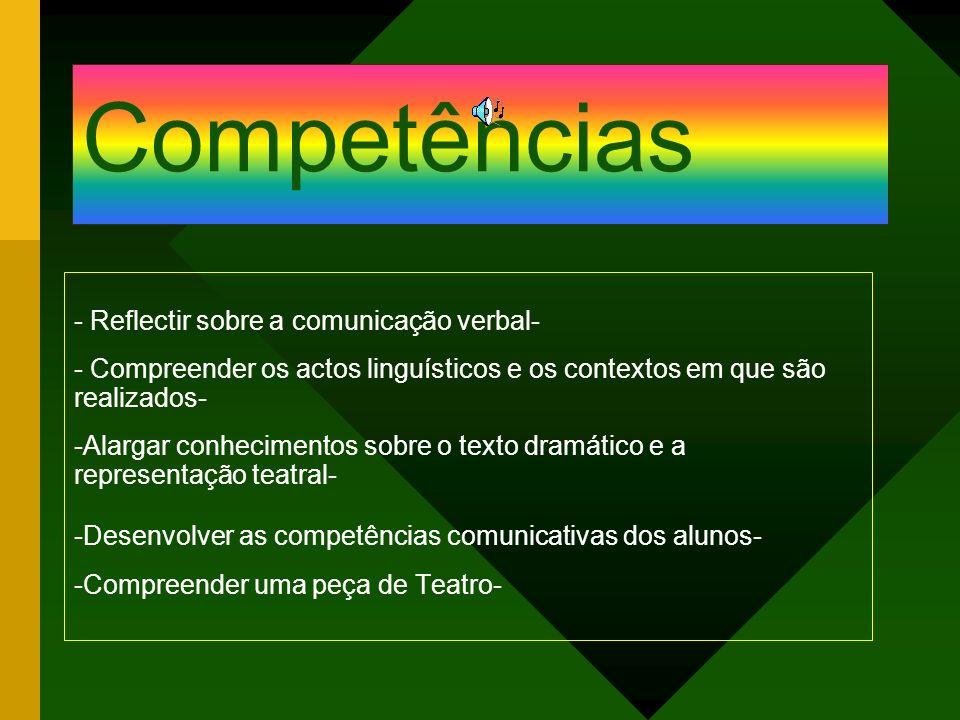 Competências - Reflectir sobre a comunicação verbal- - Compreender os actos linguísticos e os contextos em que são realizados- -Alargar conhecimentos
