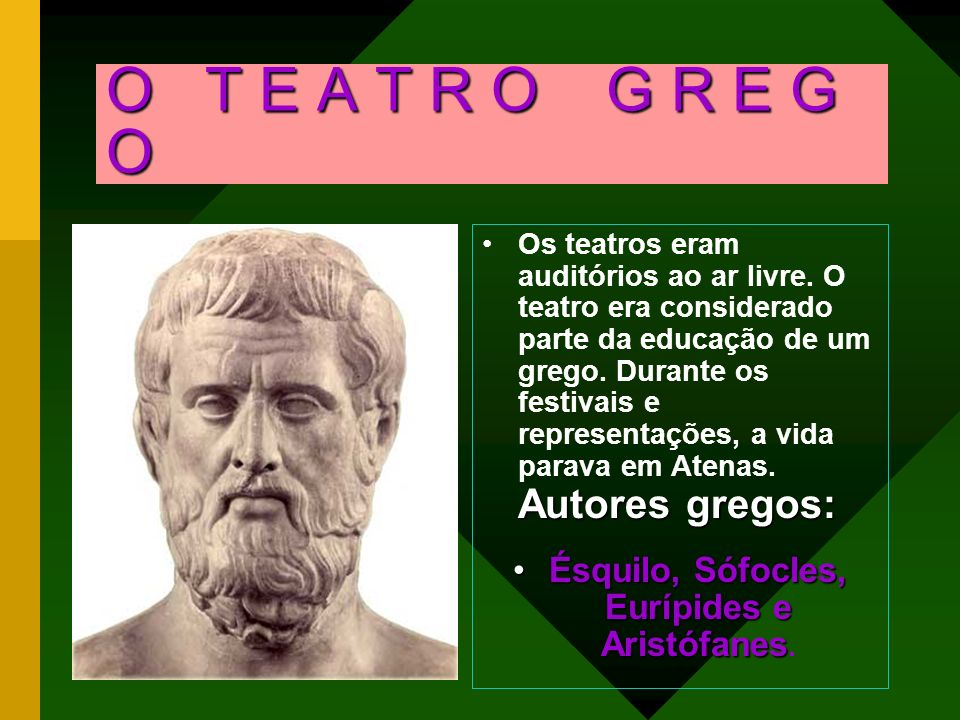 O T E A T R O G R E G O Os teatros eram auditórios ao ar livre. O teatro era considerado parte da educação de um grego. Durante os festivais e represe