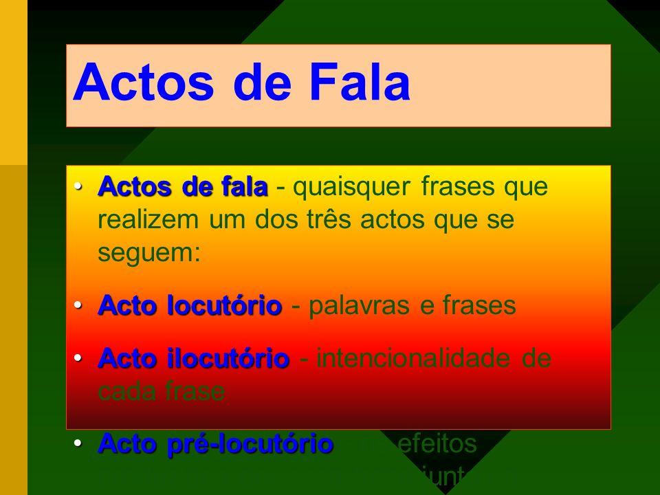 Actos de Fala Actos de falaActos de fala - quaisquer frases que realizem um dos três actos que se seguem: Acto locutórioActo locutório - palavras e fr