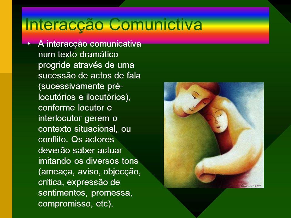 Interacção Comunictiva A interacção comunicativa num texto dramático progride através de uma sucessão de actos de fala (sucessivamente pré- locutórios