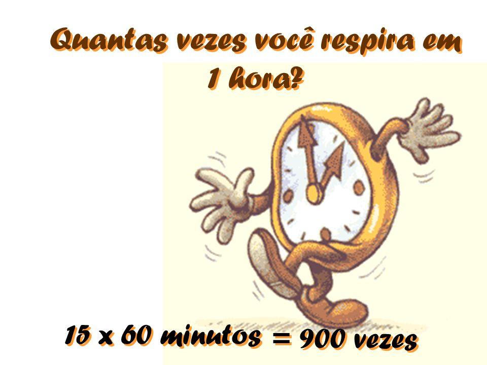 Quantas vezes você respira em 1 hora? 15 x 60 minutos = 900 vezes