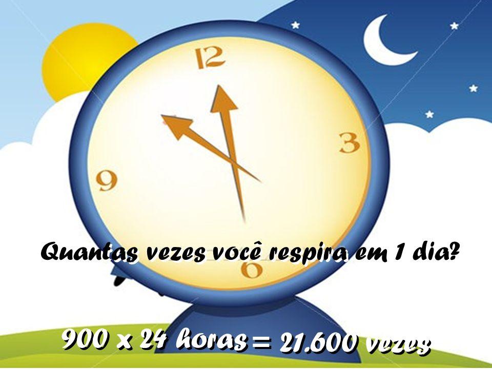 Quantas vezes você respira em 1 dia? 900 x 24 horas = 21.600 vezes