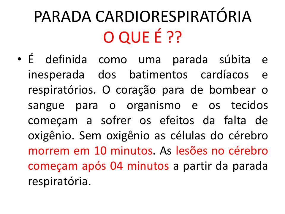 PARADA CARDIORESPIRATÓRIA O QUE É ?? É definida como uma parada súbita e inesperada dos batimentos cardíacos e respiratórios. O coração para de bombea