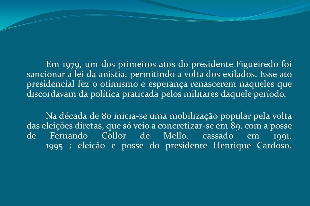 Em 1979, um dos primeiros atos do presidente Figueiredo foi sancionar a lei da anistia, permitindo a volta dos exilados. Esse ato presidencial fez o o