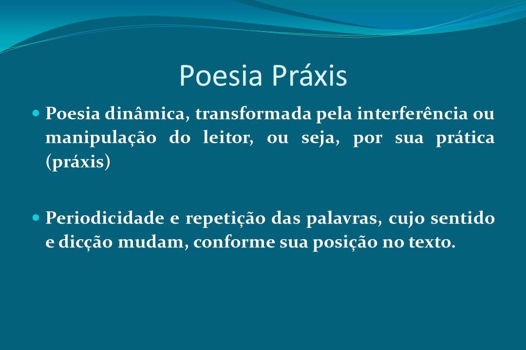Poesia Práxis Poesia dinâmica, transformada pela interferência ou manipulação do leitor, ou seja, por sua prática (práxis) Periodicidade e repetição d