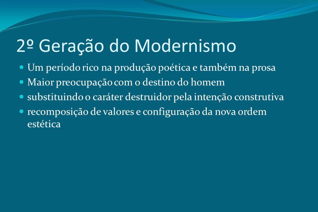 2º Geração do Modernismo Um período rico na produção poética e também na prosa Maior preocupação com o destino do homem substituindo o caráter destrui